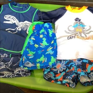 Other - 2 bathing suit sets and 1 trunk baby boy size 6-9m